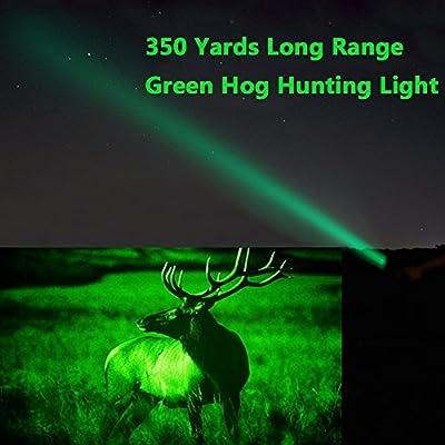 350 yard CREE LED Green Flashlight 1 Mode Hog Coyote Coon Varmints Predator Hunting Light (Green Tactical Flashlight + Dual Control Pressure Switch + 2 X 18650 Batteries + Charger + Rail Scope Mounts)