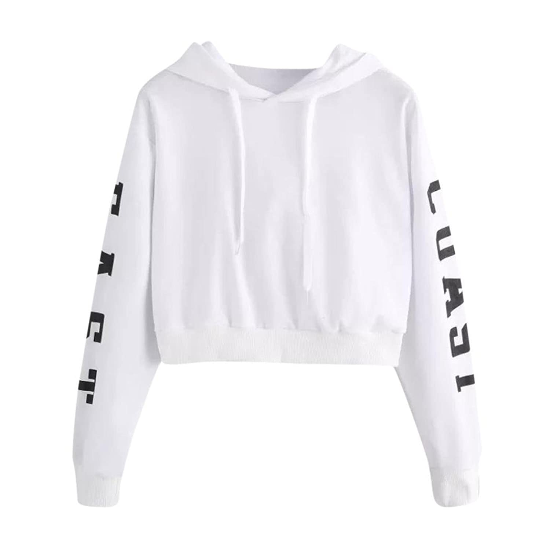88c7c2101b5f7 Top15  Zainafacai Women s Letter Printed Drawstring Long Sleeve Hoodie Crop  Top Sweatshirt