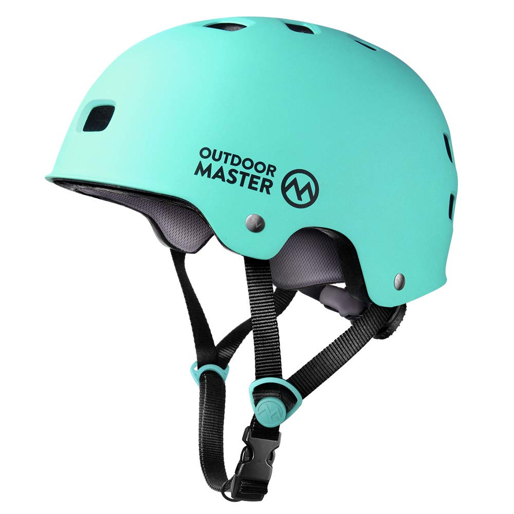 OutdoorMaster Skateboard Helmet - CPSC Certified Lightweight, Low-Profile Skate & freestyle BMX Helmet with Removable Lining - 12 Vents Ventilation System - for Kids, Youth & Adults - L - Mint Green