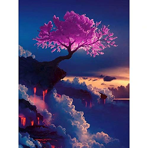 - DIY 5D Diamond Painting by Number Kits, Crystal Rhinestone Diamond Embroidery Paintings Pictures Arts Craft for Home Wall Decor,Pink Flowers Tree on Cliff 16x20 Inch