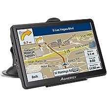 Navegación GPS para coche, visualización táctil capacitiva de 7-inch HD sistema de aviso de voz, con parasol hablado, 8GB GPS Navigator–actualizaciones de mapas de por vida (negro)