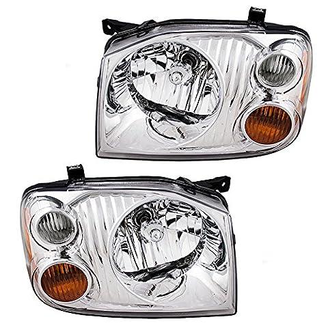 Pair Set Headlights Headlamps w/ Chrome Bezel Signal Marker Lamp & Wiring Replacement for Nissan Frontier Truck 26060-8Z325 - Nissan Frontier Headlight Replacement