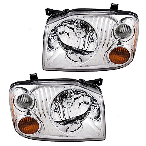 Headlights with Chrome Bezel Driver and Passenger Replacements for 01-04 Nissan Frontier Pickup Truck 260608Z325 260108Z325