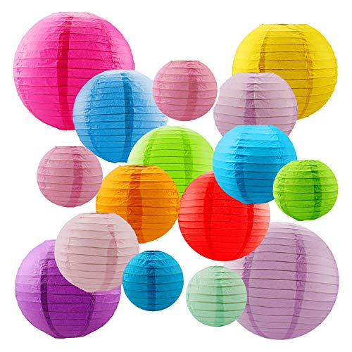 Kalolary 18 Pcs Colorful Paper Lanterns Chinese/Japanese Paper