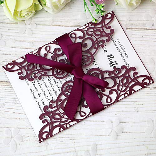 "PONATIA 25PCS 5.12 x 7.1 "" Laser Cut Wedding Invitations Cards with Envelopes for Wedding Bridal Shower Engagement Birthday Invite (Burgundy)"