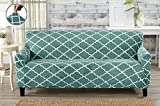 Modern Velvet Plush Strapless Slipcover. Form Fit Stretch, Stylish Furniture Shield / Protector. Magnolia Collection Strapless Slipcover by Great Bay Home Brand. (Sofa, Aqua)