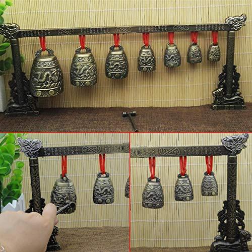 ZUINIUBI Chinese Antique Retro Style Bronze Bell Decoration Chinese Classical Percussion Musical Instrument Etiquette Cultural Representation Meditation Gong with 7 Ornate Cow Bell Set