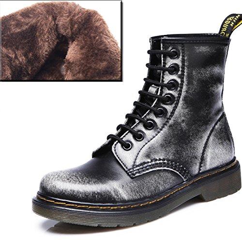 Honeystore Unisex-Erwachsene Bootsschuhe Derby Schnürhalbschuhe Kurzschaft Stiefel Winter Boots für Herren Damen Grau mit Pelzfutter