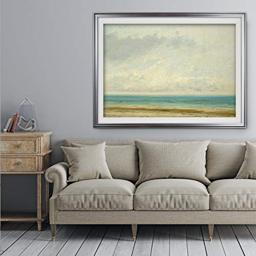 Renditions Gallery HAC17M-168-2436SF The-Calm-Sea -Gustave-Courbet - Premium Framed Print 28x28 Silver