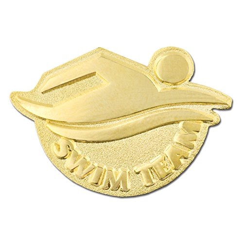 PinMart's Gold Plated Swim Team School Sports Lapel Pin by PinMart
