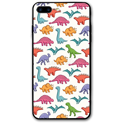 Happy Index Cute Dinosaurs Pattern iPhone 7 Plus Case/iPhone 8 Plus Case Soft TPU Shell Shock-Absorption Bumper Anti-Scratch Case Enhanced Grip Protective Defender ()