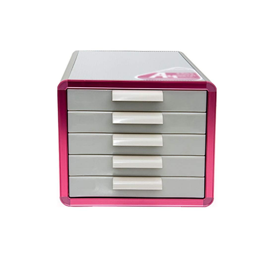 A4 Desktop File Cabinet Lockable Data Cabinet Drawer File Storage Cabinet File Box Office Supplies Portable and Tidy Storage Box-Plastic 28.634.625.3CM (Color : B)