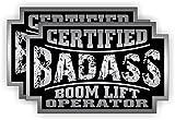 (2) Badass BOOM LIFT OPERATOR Hard Hat Stickers | Bad Ass Motorcycle Helmet Decals | Backhoe Crane Lift Truck Excavator Laborer Foreman Bossman Heavy Equipment Crane Truck Labels Badges