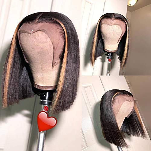 13x6 Lace Front Wigs Brazilian Virgin Human Hair Pre Plucked Hair Line for Black Women Highlight Straight 150% Density with Baby Hair (12 inch, 150% density lace front wig)