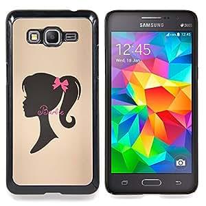 """La cinta de Brown Silueta Señora"""" - Metal de aluminio y de plástico duro Caja del teléfono - Negro - Samsung Galaxy Grand Prime G530F G530FZ G530Y G530H G530FZ/DS"""