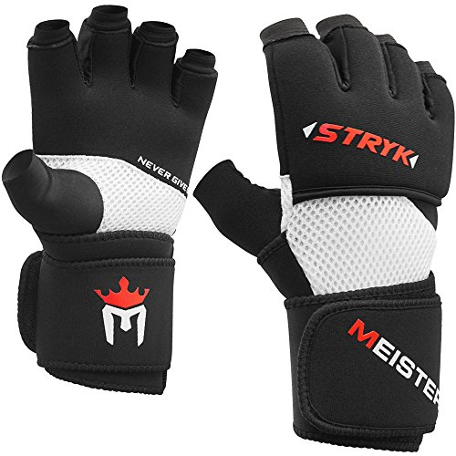 Meister Wrist Wrap Stryk Gloves w/EliteGel for Boxing & MMA - Replace Hand Wraps or Wear Alone - Black - Small