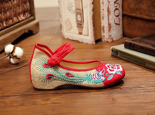 Lazutom Embroidery Red Peony Chinese Style Shoes Women Flats Phoenix Vintage Casual Shoes Uanrq7BUYx