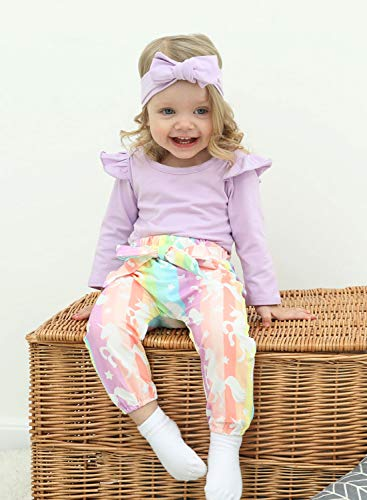 Baby Girl Long Sleeve Outfit for Fall 3 Pieces Suit Babies Romper Rainbow Stripe Halen Pants Toddler 1st Birthday Gift Outdoor Holiday(6-9 9-12 Months)