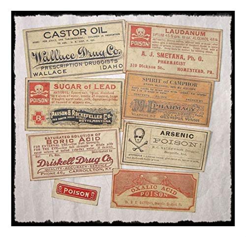 Set of 13 POISON VINTAGE LOOK APOTHECARY LABELS Halloween/Primitive- Sold by Soigne and Swank!
