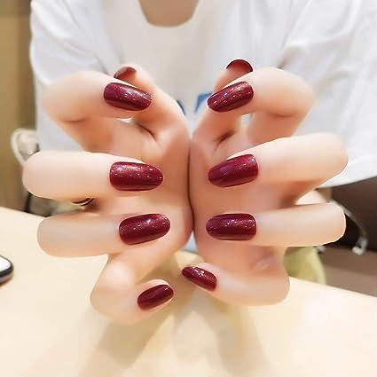 Jovono uñas postizas completas, 24 unidades, color rojo vino ...