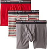 Lucky Brand Men's 3-Pack Stretch Solid and Clover Boxer Briefs, Quiet Shade/Heather Grey/Cherry Red, Large