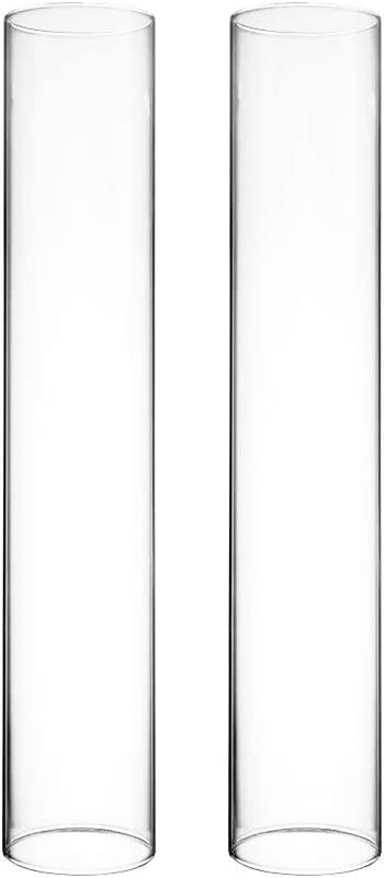 "CYS EXCEL Set of 2 Glass Hurricane Candle Shade (2.5"" Wide x 14"" Tall) 