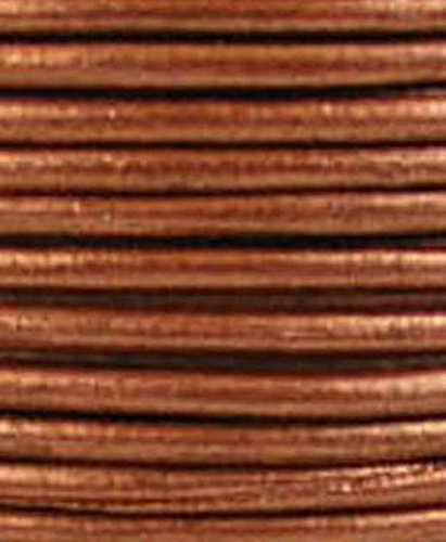 Round Leather Cord, 5 Yards Length, 2.0 mm Metallic Cool Copper (#46)