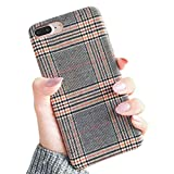 iPhone 7 Plus 5.5' iPhone 8 Plus 5.5' NAMA Soft Cloth Grid Fabric Pattern Stripes Vintage Plaid Retro Grey Gray Cover Case