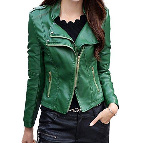 El Parka Motorista Abrigo Negro Bolsillos Verde Chaqueta Con Piel Cremallera De Mujer Sintética Color Para Invierno Y 7x1AFPqw