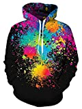 GAMISS Unisex 3D Print Pullover Hoodies Casual Drawstring Hooded Sweatshirts with Kangaroo Pocket Plus Size