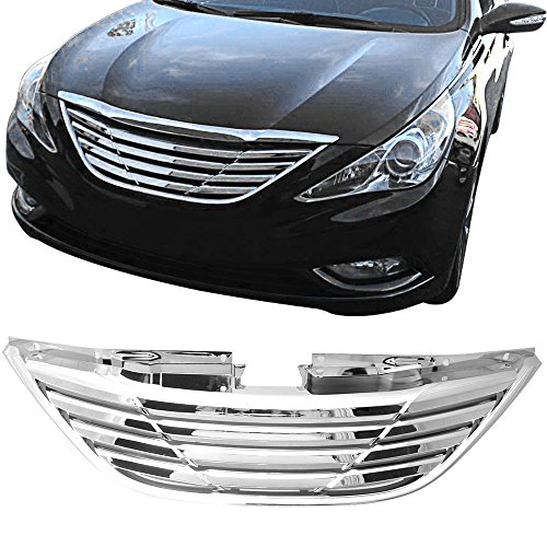 Grille Fits 2011-2014 Hyundai Sonata | Horizontal Style ABS Unpainted Chrome Front Upper Grill Guard Aftermarket Replacement Assembly by IKONMOTORSPORTS | 2012 2013