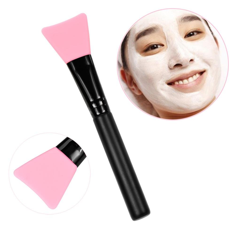 DZT1968 1Pc lightweight Wooden Ergonomic Handle Facial Face Mud Mask Mixing Brush Cosmetic Makeup Kit (pink)