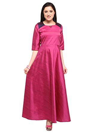 c828d7098 Magenta Color Plain Poly Silk (Two Tone Silk) Kurti  Amazon.in  Clothing    Accessories