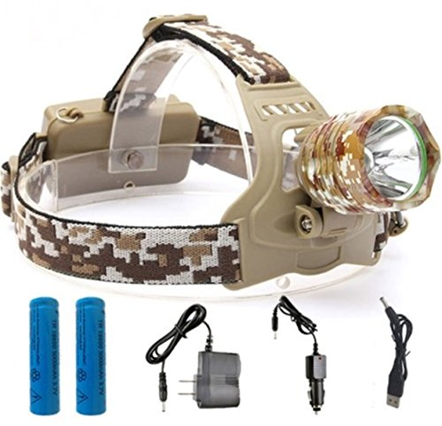 1 Set 3800 Lumen Camouflage CREE XM-L T6 LED Flashlight Headlamp Headlight 3 Mode 10W Headlights Persuasive Fashionable Ultra Xtreme Tactical Military Waterproof Hunting Light w/ Blue Band, Type-03