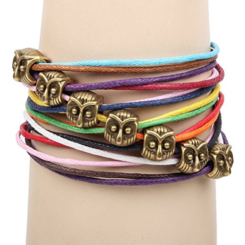 Winter's Secret Bronze Owl Pattern Hand Braided Diy Color Wax Rope Ancient Wrap - Bracelet Dog Pattern