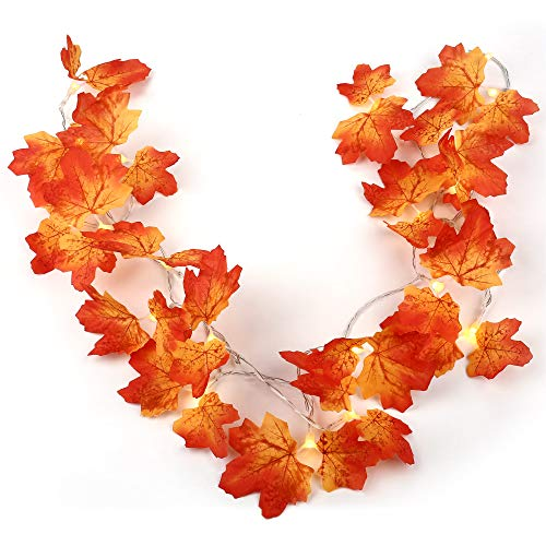 RECESKY 20 LED Maple Leaf String Lights - 8.2ft Battery Lighting - Fall Garland Decorations - Autumn Wreath Decor for Halloween Party, Garden, Fence, Porch, Home, House, Thanksgiving Decorations
