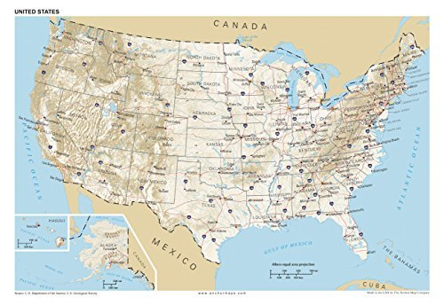 13x19 Anchor Maps United States General Reference Wall Map Poster - USA Foundational Series - Capitals, Cities, Roads, Physical Features, and Topography - City Us Texas