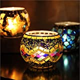 Hohaski Handmade Mosaic Glass Candlestick- Tea Light Candle Holders- Decorative Centerpieces for Tables, Wedding, Birthday, Party Gifts (A)
