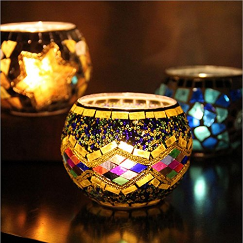 Hohaski Handmade Mosaic Glass Candlestick- Tea Light Candle Holders- Decorative Centerpieces for Tables, Wedding, Birthday, Party Gifts (A) by Hohaski