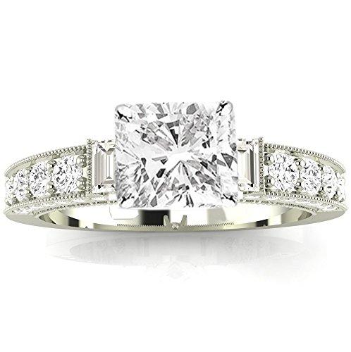 (2.58 Ctw 14K White Gold GIA Certified Cushion Cut Gorgeous Prong Set Round and Half Bezel Baguette Diamond Engagement Ring, 2 Ct D-E VVS1-VVS2 Center)