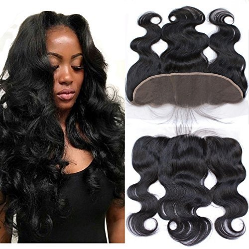 Price comparison product image Free Part Lace Frontal Closure 13x4 With Baby Hair Body Wave Virgin Brazilian Human Hair Closure Frontals Ear to Ear Natural Color No Bleached Knots (8 inch)