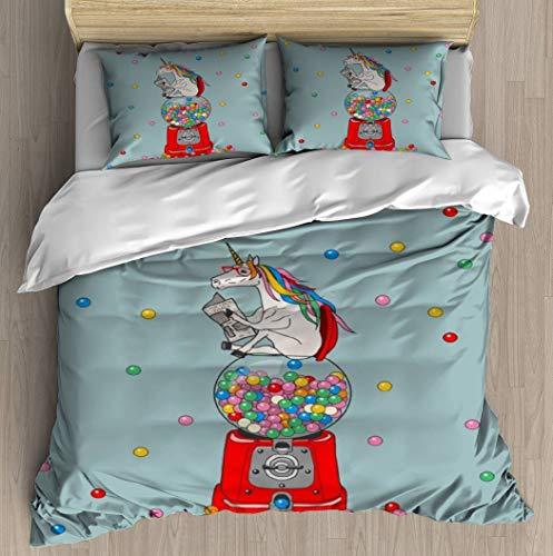 Unicorn Gumball Poop Duvet Cover Set Bed Sheet Pillowcase Bedding Cotton Ultra Soft 3D Pattern Unique Art Design Full Set Duvet Cover - Twin/XL