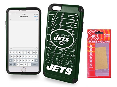(IPHONE [6 Plus][6s Plus] [5.5'] Licensed NFL Dual Hybrid Cell Phone Case for Iphone [6 Plus][6s Plus] with Kaede® [Screen Guard] Protector-New York Jets - [Iphone 6 PLUS, 6s PLUS only])