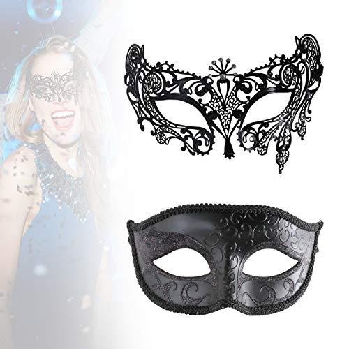 Masquerade Mask Women Shiny Rhinestone Venetian Party Prom Ball Metal Mask Black