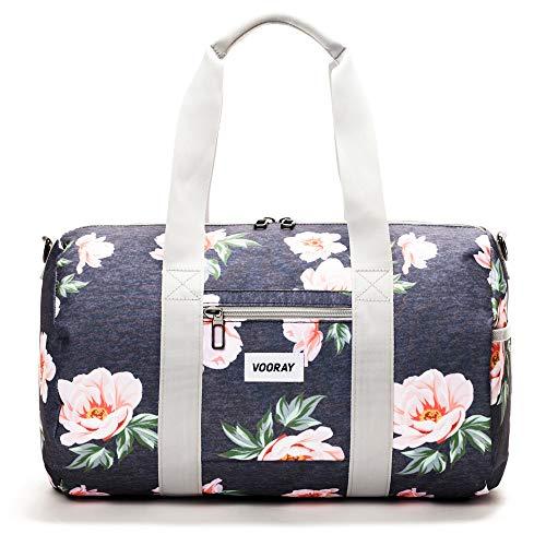 Vooray Roadie 23L Small Gym Duffel Bag, Rose Floral Navy