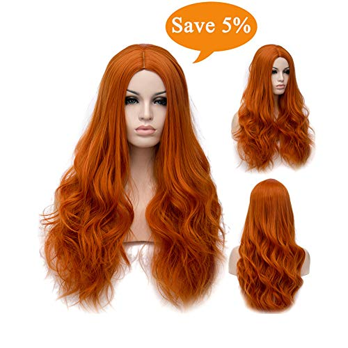 Winshope Orange Wig Costume Hair Wigs Long Curly Heat Resistant Synthetic Wig For Women Party Cosplay -
