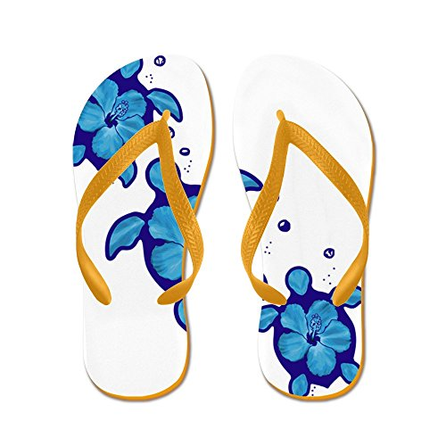 Cafepress Blauwe Hibiscus Honu Turtles - Flip Flops, Grappige String Sandalen, Strand Sandalen Oranje