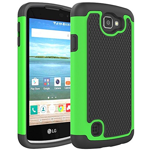 LG K4 Case, LG Spree Case, LG Optimus Zone 3 Case, NOKEA [Shock Absorption] Full Body Hybrid Dual Layer Armor Defender Protective Case Cover for LG K4 LTE / LG Spree / LG Opitmus Zone 3 (Green) (Lg Optimus Otterbox compare prices)