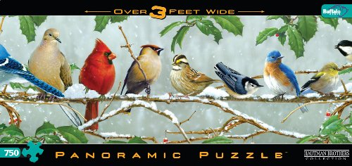 750 Piece Panoramic Jigsaw Puzzle: Winter Songbirds
