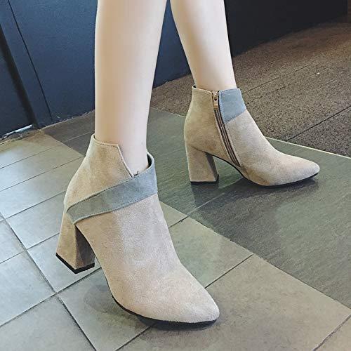 YMFIE Bottes Martin épaisses élégantes élégantes élégantes et Confortables avec Fermeture à glissière latérale Bottes en Daim à Talon Aiguille pour Femmes 35 EU|B 3b8efa